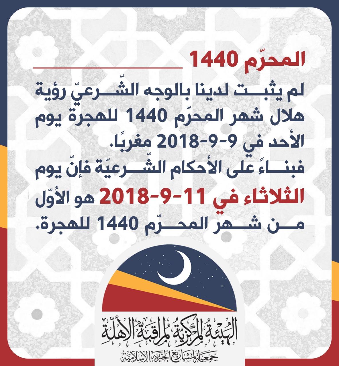Mardi 11.09.2018 1er jour de l'année 1440H